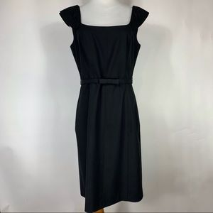 Tahari Black Career Dress Wide Neck Lined Sz 10 P